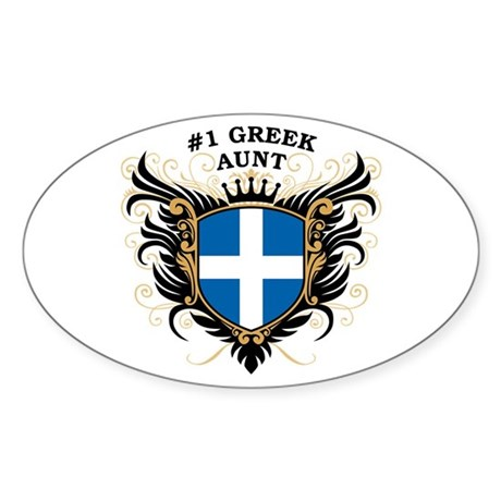 Number One Greek Aunt Oval Sticker