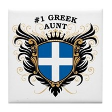 Number One Greek Aunt Tile Coaster