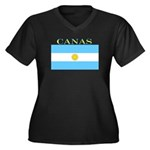 Canas Argentina Flag Women's Plus Size V-Neck Dark