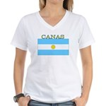 Canas Argentina Flag Women's V-Neck T-Shirt