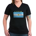 Canas Argentina Flag Women's V-Neck Dark T-Shirt