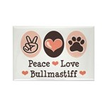 Peace Love Bullmastiff Rectangle Magnet (10 pack)