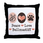 Peace Love Bullmastiff Throw Pillow