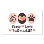 Peace Love Bullmastiff Rectangle Sticker