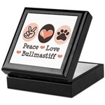 Peace Love Bullmastiff Keepsake Box