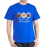Peace Love Bullmastiff Dark T-Shirt