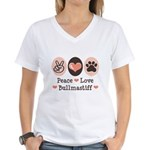 Peace Love Bullmastiff Women's V-Neck T-Shirt