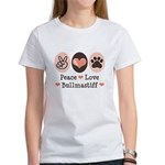 Peace Love Bullmastiff Women's T-Shirt
