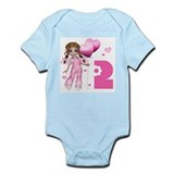 Girl Hearts 2nd Birthday Infant Bodysuit