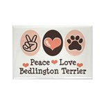 Peace Love Bedlington Rectangle Magnet (10 pack)