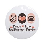 Peace Love Bedlington Ornament (Round)
