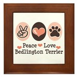 Peace Love Bedlington Framed Tile