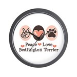 Peace Love Bedlington Wall Clock