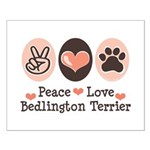 Peace Love Bedlington Small Poster