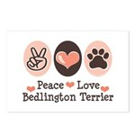 Peace Love Bedlington Postcards (Package of 8)