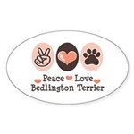 Peace Love Bedlington Oval Sticker