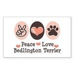 Peace Love Bedlington Rectangle Sticker