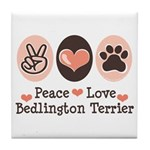 Peace Love Bedlington Tile Coaster