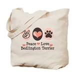 Peace Love Bedlington Tote Bag