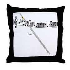Flute Music Throw Pillow