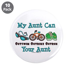 "Aunt Triathlete Triathlon 3.5"" Button (10 pack)"