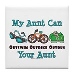 Aunt Triathlete Triathlon Tile Coaster