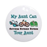 Aunt Triathlete Triathlon Ornament (Round)