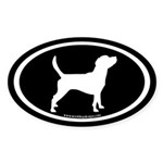 Beagle Dog Oval (white on black) Oval Sticker
