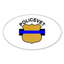 Policevets Blue Line Shield Oval Decal