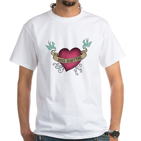 Big Sister Heart Tattoo White T-Shirt
