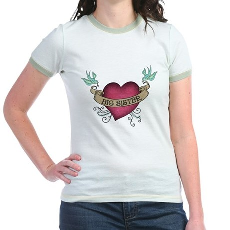 Big Sister Heart Tattoo Jr. Ringer T-Shirt