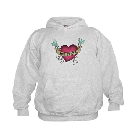 Big Sister Heart Tattoo Kids Hoodie