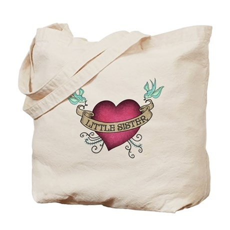 Little Sister Heart Tattoo Tote Bag