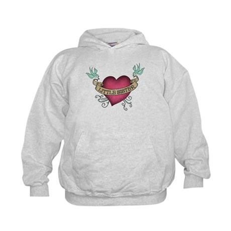 Little Sister Heart Tattoo Kids Hoodie