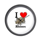I Love Rhinos Wall Clock