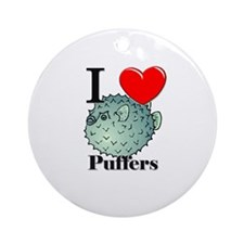 I Love Puffers Ornament (Round)