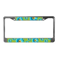 Pop Art Blue Daisy License Plate Frame