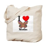I Love Moths Tote Bag