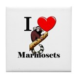 I Love Marmosets Tile Coaster