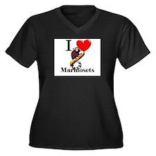I Love Marmosets Women's Plus Size V-Neck Dark T-S