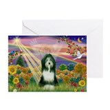 Autumn Angel / Bearded Collie Greeting Cards (Pk o