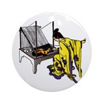 Woman at Weaving Loom Ornament (Round)