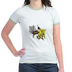 Woman at Weaving Loom Jr. Ringer T-Shirt