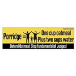 Porridge recipe bumper sticker