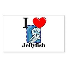 I Love Jellyfish Rectangle Decal