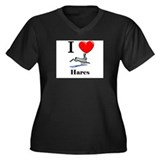I Love Hares Women's Plus Size V-Neck Dark T-Shirt