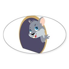 Peekaboo Mouse Oval Decal