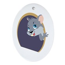 Peekaboo Mouse Oval Ornament