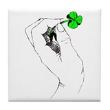 Shamrock in Hand Tile Coaster