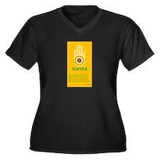 Karma Women's Plus Size V-Neck Dark T-Shirt